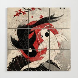 Koi fish - Yin Yang Wood Wall Art