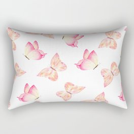 Hand painted pink coral watercolor pretty butterflies Rectangular Pillow