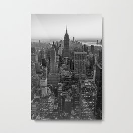 New York Skyline - Manhattan Black and White Metal Print