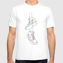 Sneakers simple minimal one line art, hanging shoes branded shoes  T-shirt