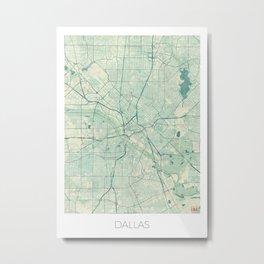 Dallas Map Blue Vintage Metal Print