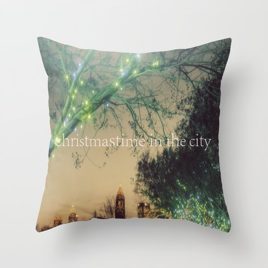 Christmastime In The City Throw Pillow