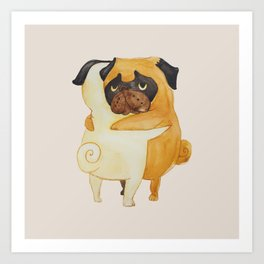 Pug Hugs Watercolor Art Print