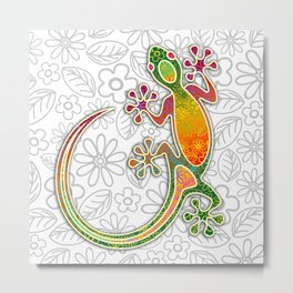 Gecko Floral Tribal Art Metal Print