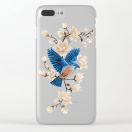 Blue Songbird in spring flowers Clear iPhone Case