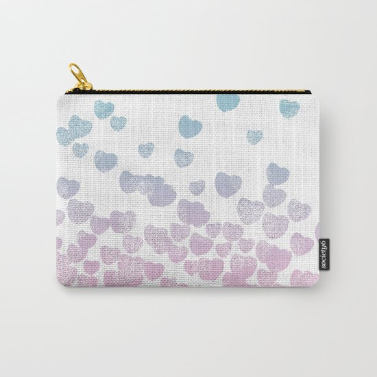 Hearts falling ombre blue and pastel pink cotton candy wonderland Carry-All Pouch