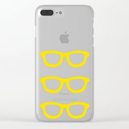 Smart Glasses Pattern - Yellow Clear iPhone Case