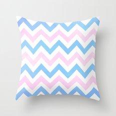 Blue Pink Textured Vintage Chevron Throw Pillow