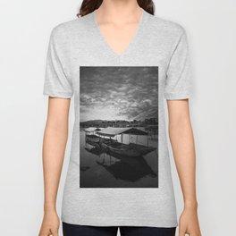 Boat on Water (Black and White) Unisex V-Neck