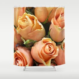 Peach Roses Shower Curtain