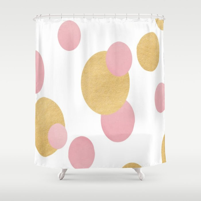Pink Gold Polka Dots Shower Curtain By Ldor