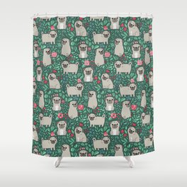 Pugs and summer flowers Shower Curtain