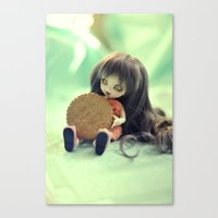 cookie monster Canvas Prints featuring Cookie Monster  by Aleksandra Piątkowska