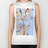 sydney Biker Tanks featuring Sydney by Mondrian Maps