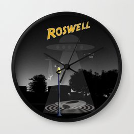 Aliens Over Roswell Wall Clock
