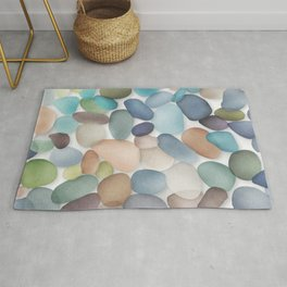 Assorted multicolored glass pebbles Rug