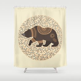 Scandinavian Folk Art Bear Shower Curtain