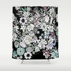 Colorful black detailed floral pattern Shower Curtain