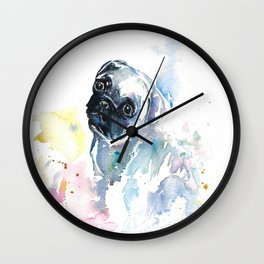 Pug Puppy in Splashy Watercolor Wall Clock