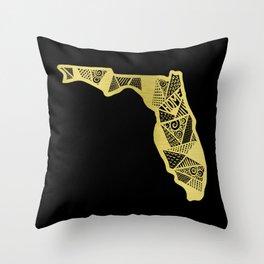 Home in Florida Gold Throw Pillow