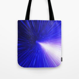 High energy particles traveling through space-time Tote Bag