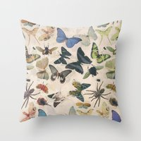 insect Throw Pillows featuring Insect Jungle by Galvanise The Dog