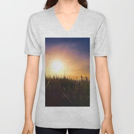 Sunset on the wheat field Unisex V-Neck