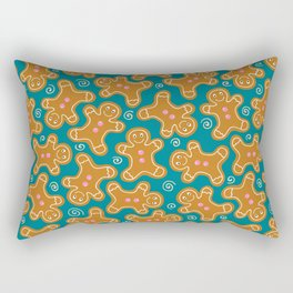 Gingerbread Men on Teal Rectangular Pillow