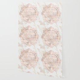 Rose Gold Mandala Marble Wallpaper