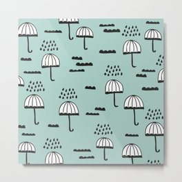 London Rain umbrella sky pattern Metal Print