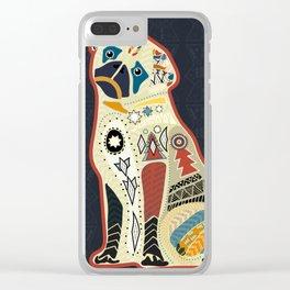 Pug dog doodle boho style Clear iPhone Case
