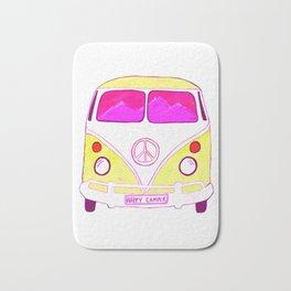 Happy Camper Vintage Van pink & gold Bath Mat