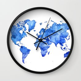Cobalt blue watercolor world map Wall Clock