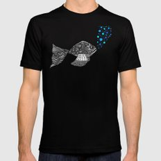 Blowing Bubbles Black Mens Fitted Tee MEDIUM