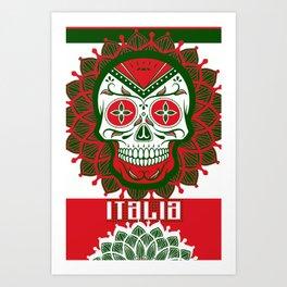 Italy Lover Italian Culture Italian American Gift Skull Flag Art Print