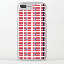 flag of norway,snow,scandinavia,scandinavian, norwegian,oslo Clear iPhone Case