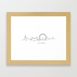 Pen line silhouette London Framed Art Print