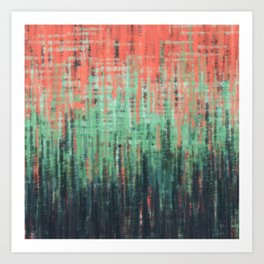 Coral Mint Navy Abstract Art Print