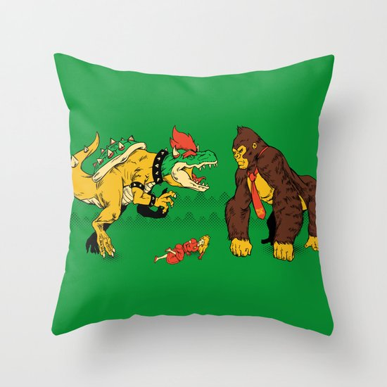 Boss vs Kong Throw Pillow