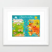 game of thrones Framed Art Prints featuring A Map of Ice and Fire by Kitkat Pecson