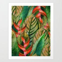 Painted Jungle Leaves 2 Art Print