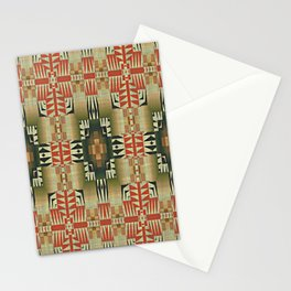 Orange Red Olive Green Native American Indian Mosaic Pattern Stationery Cards