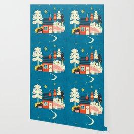Festive Winter Hut Wallpaper