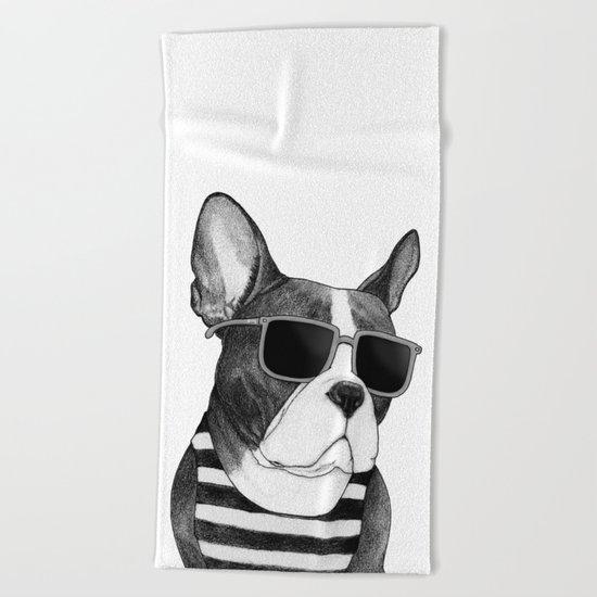 Frenchie Summer Style b&w Beach Towel