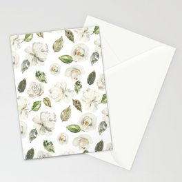 Green brown white watercolor modern floral leaves Stationery Cards
