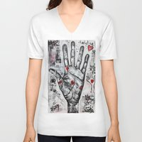 writer V-neck T-shirts featuring palm writer by sladja