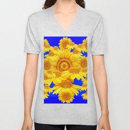 SUNNY YELLOW FLOWERS ON BLUE ART Unisex V-Neck