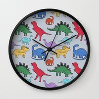 dinosaurs Wall Clocks featuring Dinosaurs by Emmyrolland