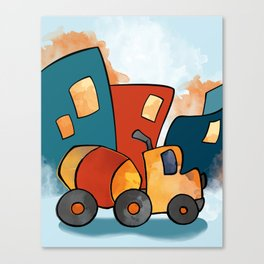 Cement Mixer, Construction Truck, Perfect for Child's Bedroom or Kid's Playroom Canvas Print