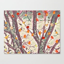 Whimsical Dancing Leaves Against Textured Trees Canvas Print